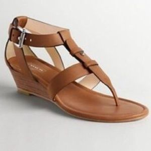 Coach Leather cognac strap sandal